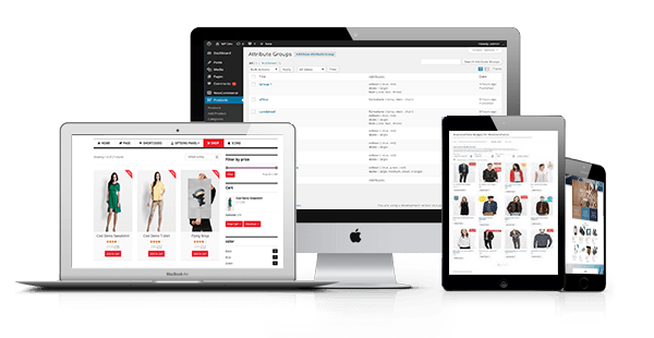 WooCommerce on desktop screen, tablet, and mobile