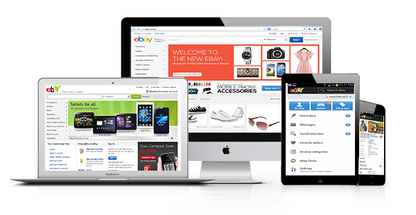 Ebay on desktop screen, tablet, and mobile