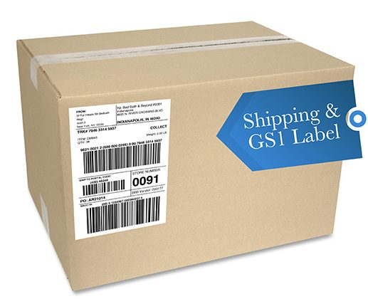 Shipping and GS1 Label on box