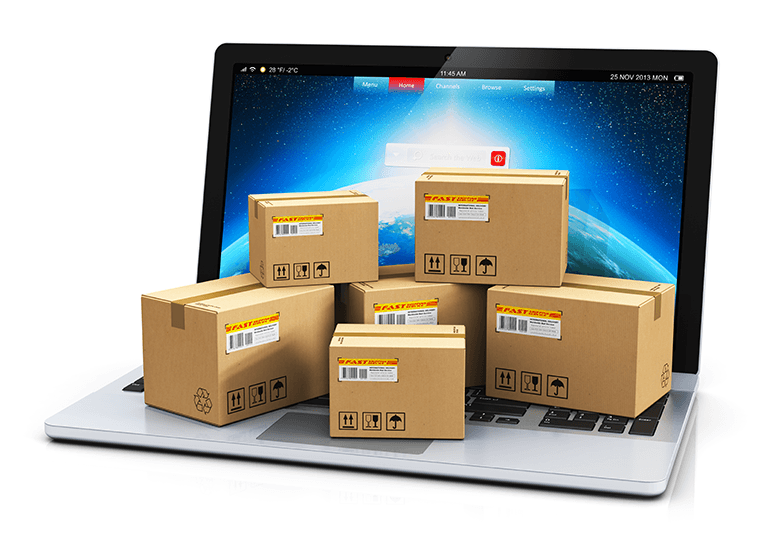Packaged boxes on computer
