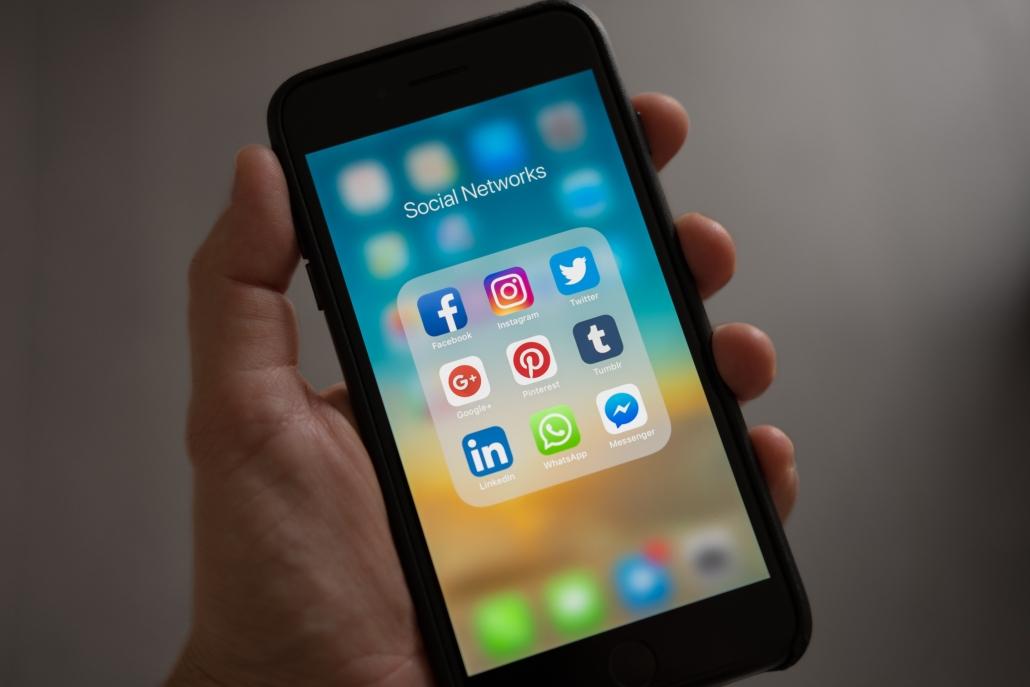 Social media apps opened on phone
