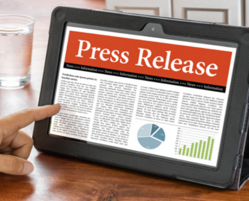 Press release on tablet