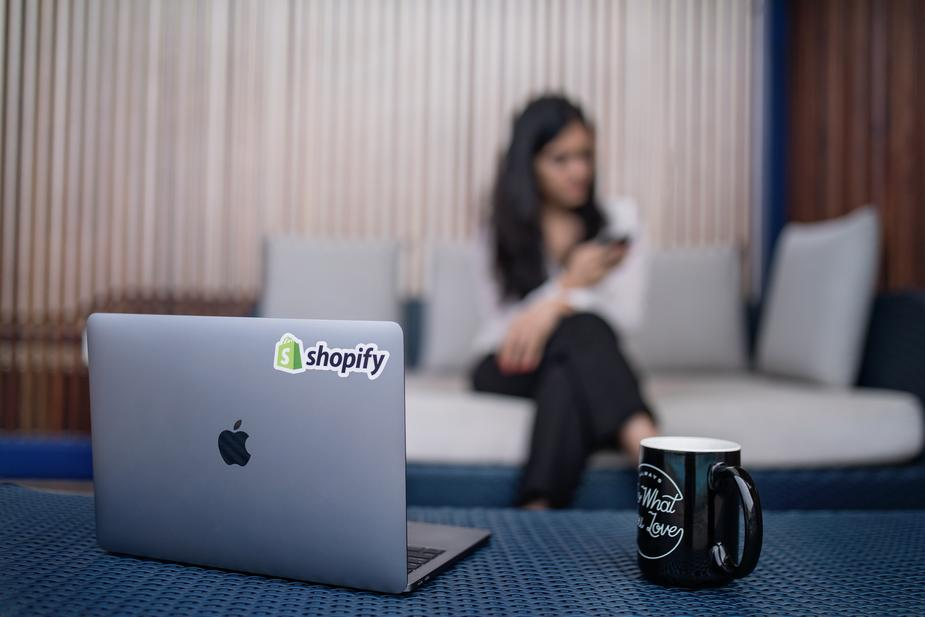 Laptop with Shopify sticker